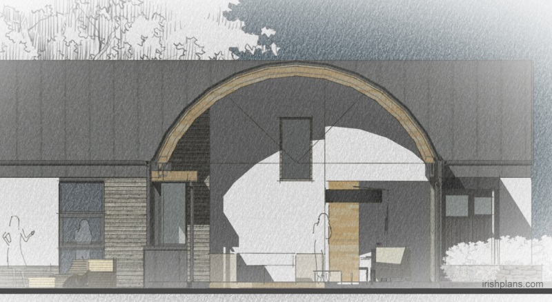 barn-style-dwelling-house-with-barrel-roof-curve-cross-section-timber-gluelam-rafter-detail Featured House architects design